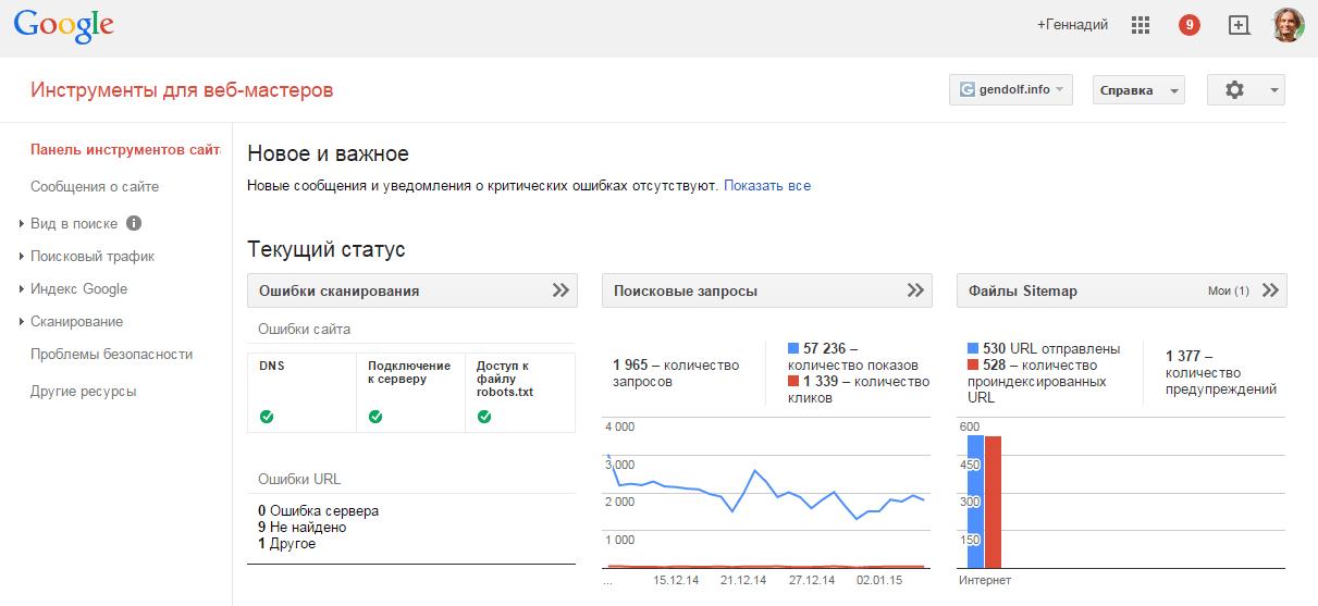Добавляем сайт в Google Вебмастер