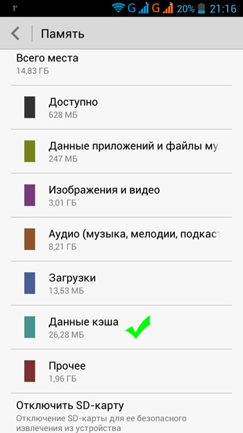 Очистка кэш в Андроид