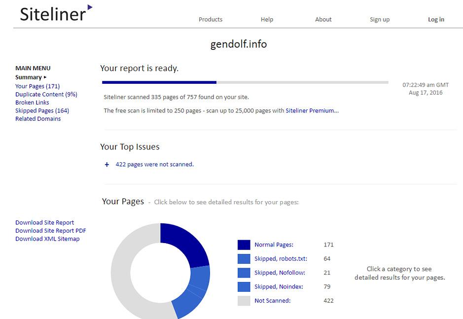 Проверка битых ссылок в сервисе Siteliner